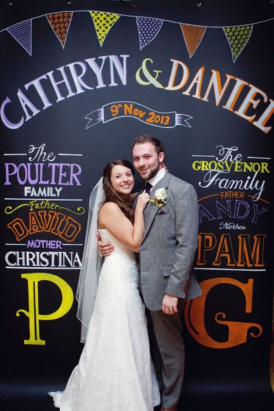 A bride and groom posing against a personalized chalkboard background that has their names on it