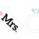 """A card """"Mrs"""" sign and engagement ring prop for a photo booth"""