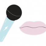 A card microphone and a pair of lips to use as a prop in a photo booth