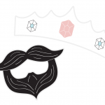 A card beard and crown prop to use in a photo booth