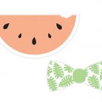 A card watermelon and bow tie prop to use in a photo booth