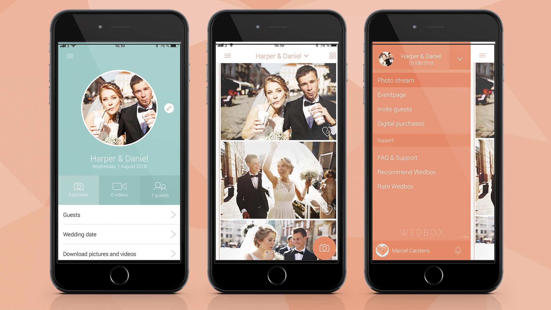 Wedbox app screens, best wedding planning app