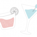 Two different card cocktail props to use in a photo booth