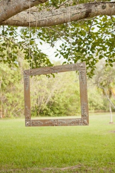 A large wooden photo frame handing from a tree branch outside