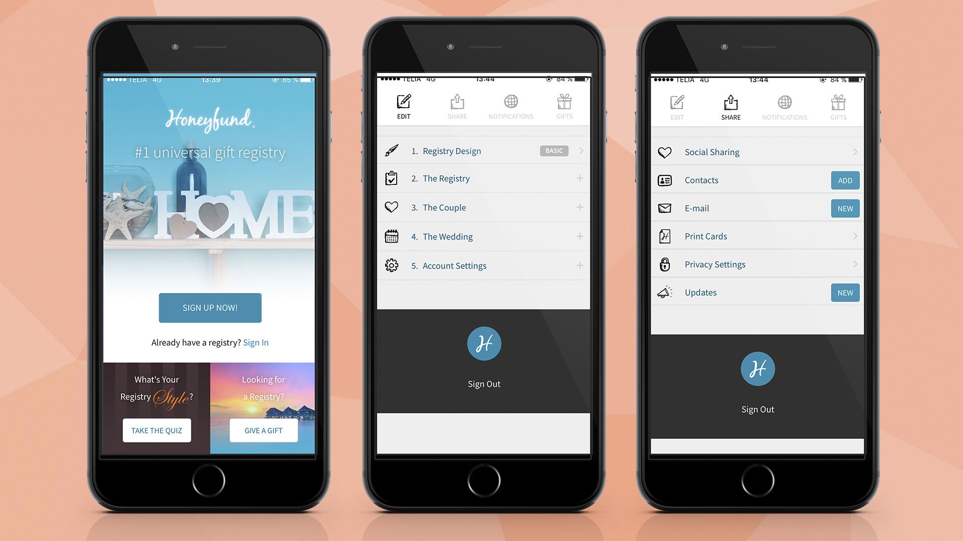 Honeyfund wedding registry app
