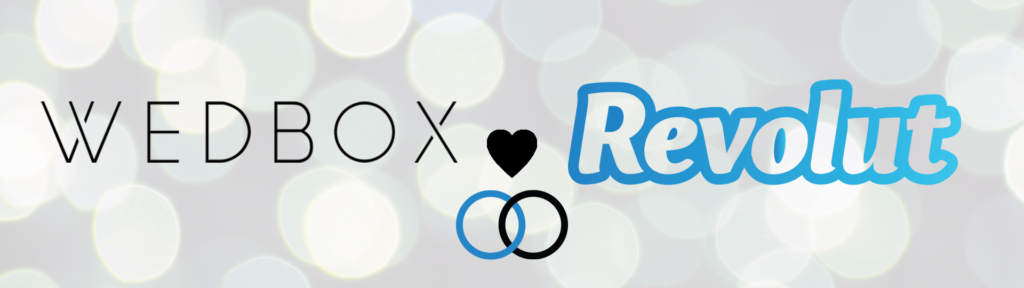 The Wedbox logo and the Revolut logo on a coloured background with a heart in the middle and 2 wedding rings showing their relationship to each other