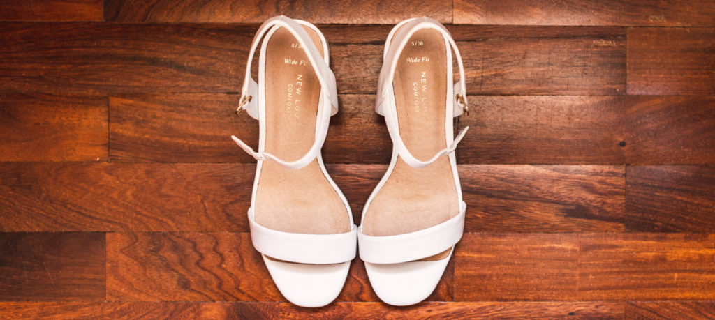 ankle strap shoes for wedding, white pair
