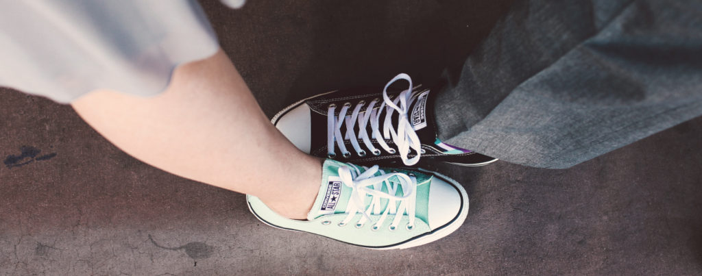 sneakers that newlyweds are wearing on their special day