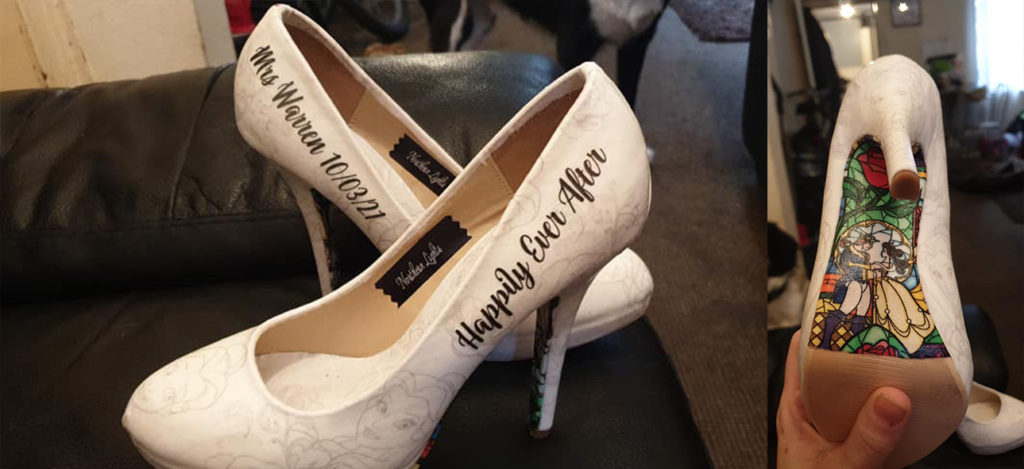 handmade shoes for wedding, decoupage style happy ever after
