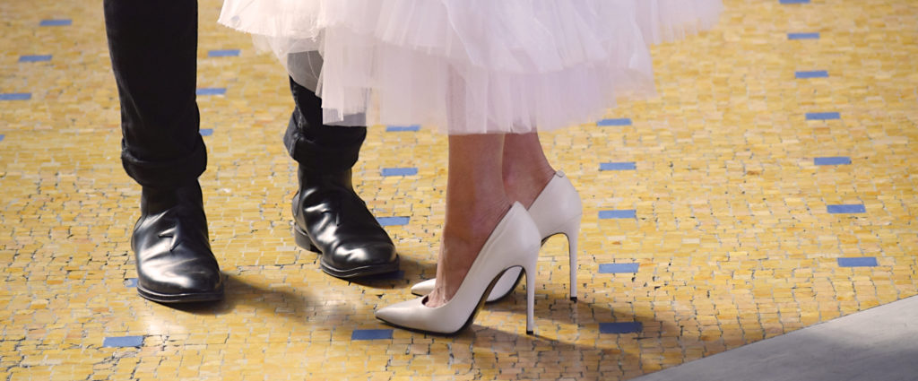 pumps, white wedding shoes, couple standing together, feet