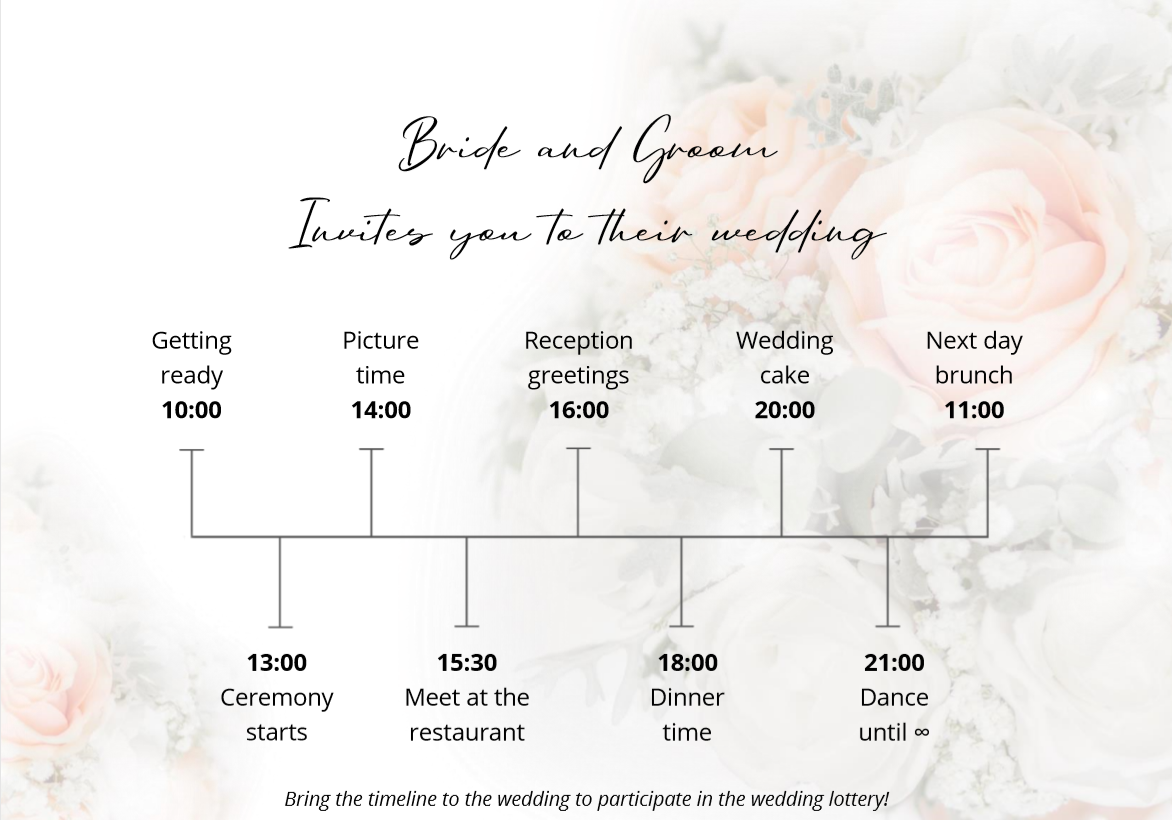 Two-day wedding editable timeline for an amazing celebration