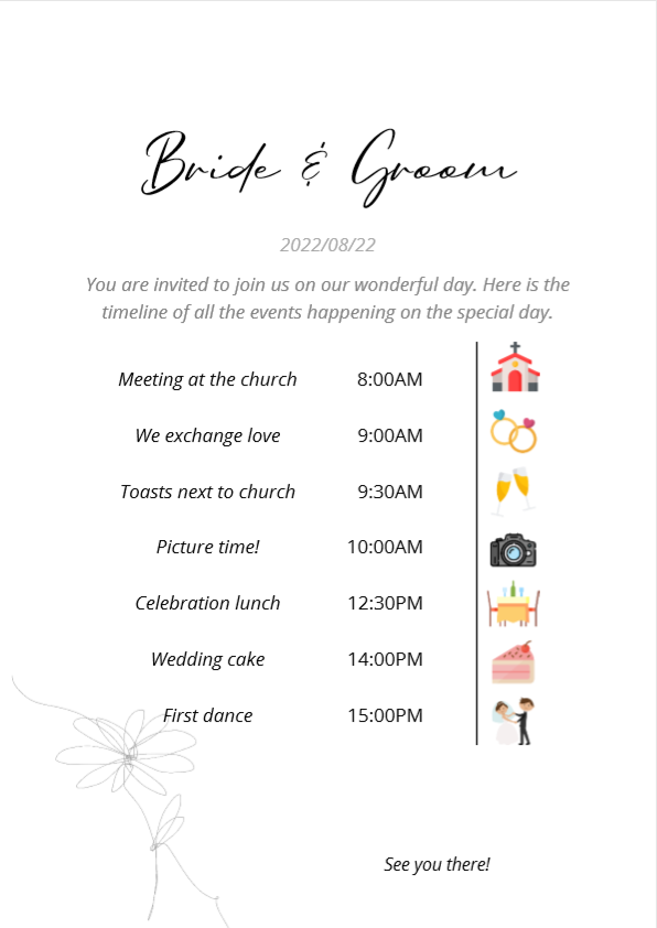 Early wedding editable timeline for an amazing celebration
