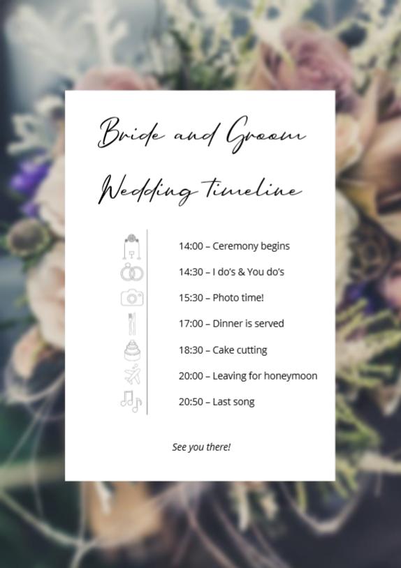 Afternoon wedding editable timeline for an amazing celebration