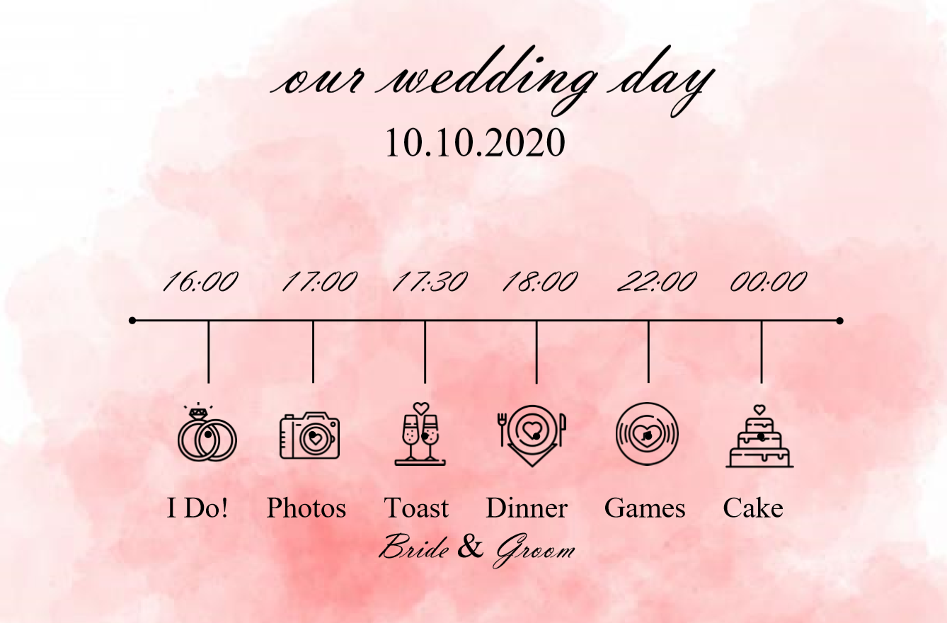 late evening editable wedding timeline template